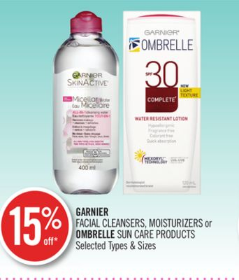 Garnier Facial Cleansers - Moisturizers or Ombrelle Sun Care Products