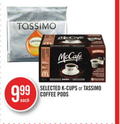 Selected K-cups or Tassimo Coffee PODS