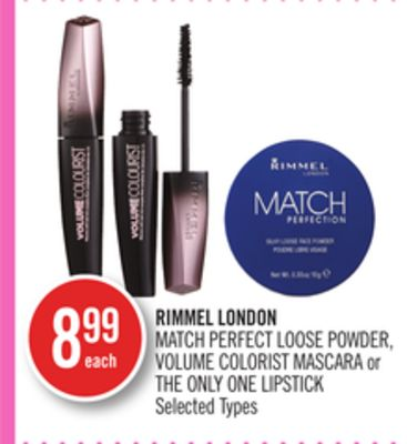 Rimmel London Match Perfect Loose Powder - Volume Colorist Mascara or The Only One Lipstick