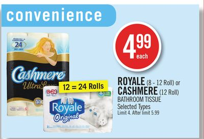 Royale (8 - 12 Roll) or Cashmere (12 Roll) Bathroom Tissue