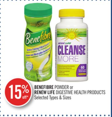 Benefibre Powder or Renew Life Digestive Health Products