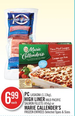PC Lasagna (1.13kg) - High Liner Wild Pacific Salmon Fillets (454g) or Marie Callender's Frozen Entrées