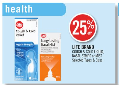 Life Brand Cough & Cold Liquid - Nasal Strips or Mist