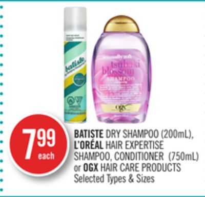 Batiste Dry Shampoo (200ml) - L'oréal Hair Expertise Shampoo - Conditioner (750ml) or Ogx Hair Care Products