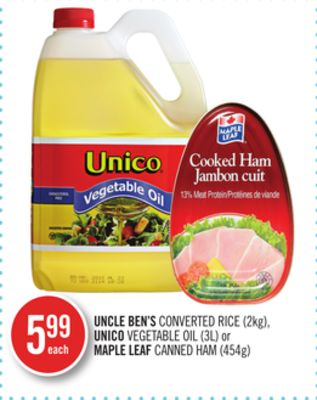 Uncle Ben's Converted Rice (2kg) - Unico Vegetable Oil (3l) or Maple Leaf Canned Ham (454g)