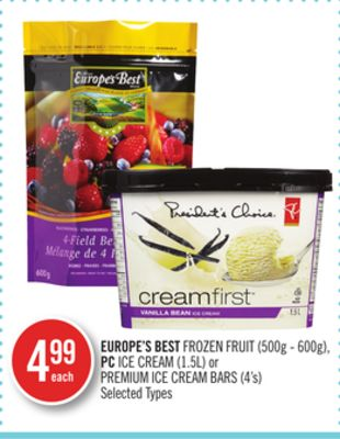 Europe's Best Frozen Fruit (500g - 600g) - PC Ice Cream (1.5l) or Premium Ice Cream Bars (4's)