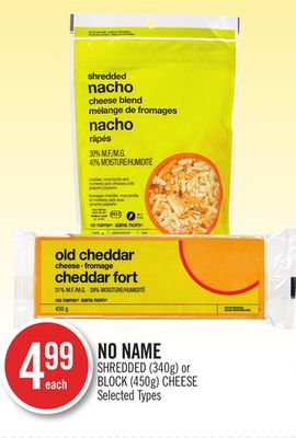 No Name Shredded (340g) or Block (450g) Cheese