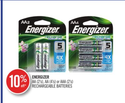 Energizer Aa (2's) - Aa (4's) or Aaa (2's) Rechargeable Batteries