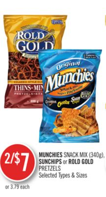 Munchies Snack Mix (340g) - Sunchips or Rold Gold Pretzels