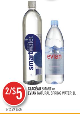 Glacéau Smart or Evian Natural Spring Water 1l
