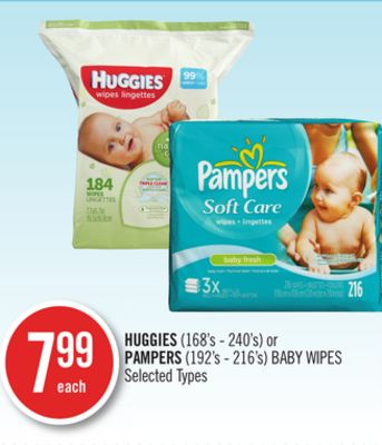 Huggies (168's - 240's) or Pampers (192's - 216's) Baby Wipes