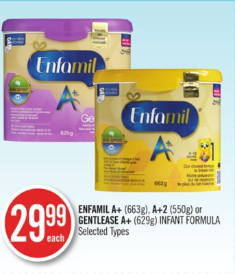 Enfamil A+ (663g) - A+2 (550g) or Gentlease A+ (629g) Infant Formula