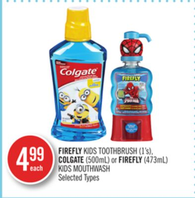 Firefly Kids Toothbrush (1's) - Colgate (500ml) or Firefly (473ml) Kids Mouthwash