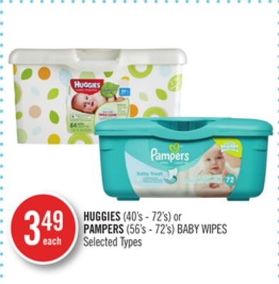 Huggies (40's - 72's) or Pampers (56's - 72's) Baby Wipes