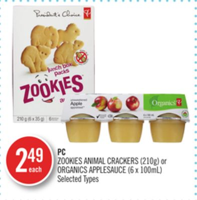 PC Zookies Animal Crackers (210g) or Organics Applesauce (6 X 100ml)