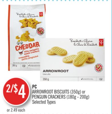 PC Arrowroot Biscuits (350g) or Penguin Crackers (180g - 200g)