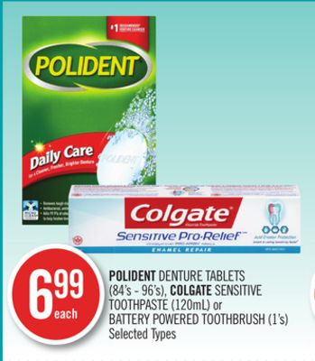 Polident Denture Tablets (84's - 96's) - Colgate Sensitive Toothpaste (120ml) or Battery Powered Toothbrush (1's)