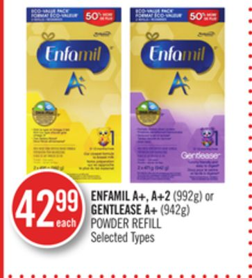 Enfamil A+ - A+2(992g) or Gentlease A+ (942g) Powder Refill