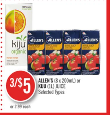 Allen's(8 X 200ml) or Kiju (1l) Juice