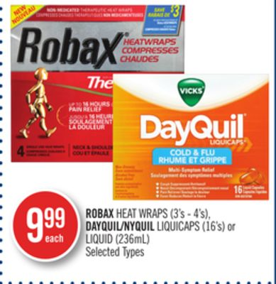 Robax Heat Wraps (3's - 4's) - Dayquil/nyquil Liquicaps (16's) or Liquid (236ml)