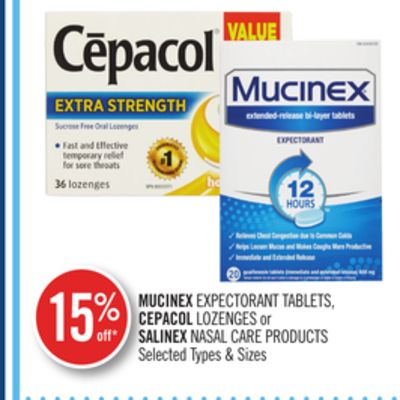 Mucinex Expectorant Tablets - Cepacol Lozenges or Salinex Nasal Care Products