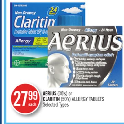 Aerius(30's) or Claritin (50's) Allergy Tablets