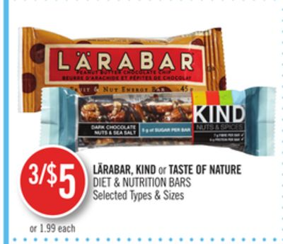 Lärabar - Kind or Taste Of Nature Diet & Nutrition Bars