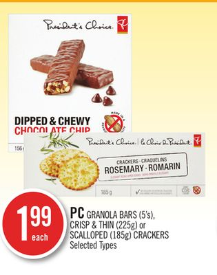 PC Granola Bars (5's) - Crisp & Thin (225g) or Scalloped (185g) Crackers