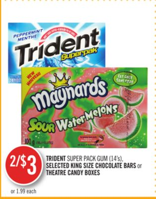 Trident Super Pack GUM (14's) - Selected King Size Chocolate Bars or Theatre Candy Boxes
