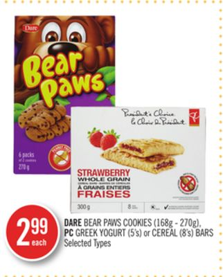 Dare Bear Paws Cookies (168g - 270g) - PC Greek Yogurt (5's) or Cereal (8's) Bars