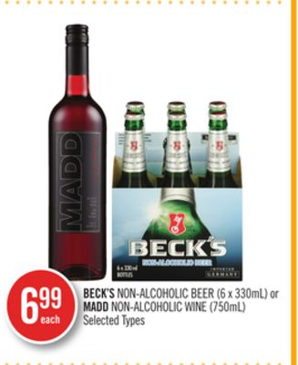 Beck's Non-alcoholic Beer (6 X 330ml) or Madd Non-alcoholic Wine (750ml)