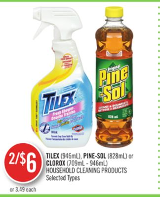 Tilex (946ml) - Pine-sol (828ml) or Clorox (709ml - 946ml) Household Cleaning Products