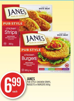 Janes Pub Style Chicken Strips - Nuggets or Burgers 800g