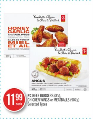 PC Beef Burgers (8's) - Chicken Wings or Meatballs (907g)
