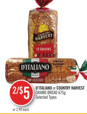 D'italiano or Country Harvest Grains Bread 675g