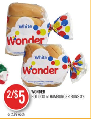 Wonder Hot Dog or Hamburger Buns 8's