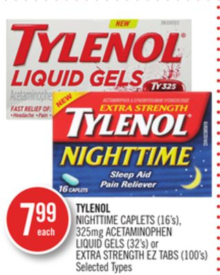 Tylenol Nighttime Caplets (16's) - 325mg Acetaminophen Liquid Gels (32's) or Extra Strength Eztabs (100's)