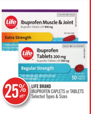 Life Brand Ibuprofen Caplets or Tablets