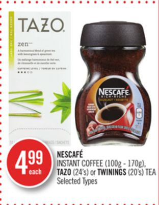 Nescafé Instant Coffee (100g - 170g) - Tazo (24's) or Twinings (20's) Tea