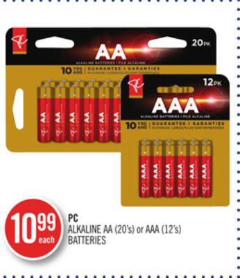 PC Alkaline Aa (20's) or Aaa (12's) Batteries