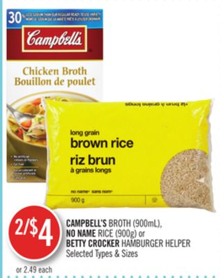 Campbell's Broth (900ml) - No Name Rice (900g) or Betty Crocker Hamburger Helper