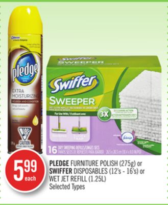Pledge Furniture Polish (275g) or Swiffer Disposables (12's - 16's) or Wet Jet Refill (1.25l)