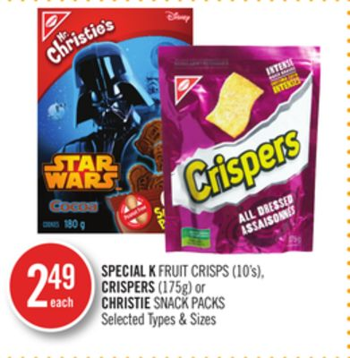 Special K Fruit Crisps (10's) - Crispers (175g) or Christie Snack Packs