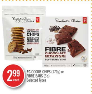PC Cookie Chips (170g) or Fibre Bars (6's)