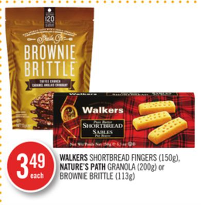 Walkers Shortbread Fingers (150g) - Nature's Path Granola (200g) or Brownie Brittle (113g)
