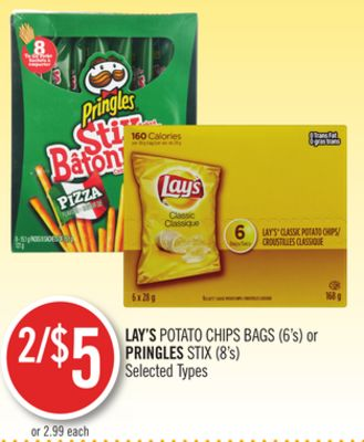 Lay's Potato Chips Bags (6's) or Pringles Stix (8's)