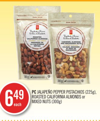 PC Jalapeño Pepper Pistachios (225g) - Roasted California Almonds or Mixed Nuts (300g)
