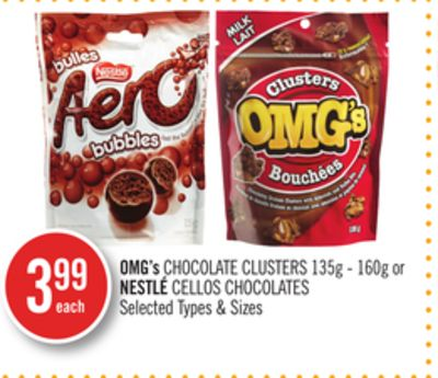 Omg's Chocolate Clusters 135g - 160g or Nestlé Cellos Chocolates