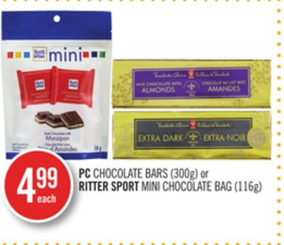 PC Chocolate Bars (300g) or Ritter Sport Mini Chocolate Bag (116g)