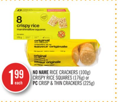 No Name Rice Crackers (100g) Crispy Rice Squares (176g) or PC Crisp & Thin Crackers (225g)